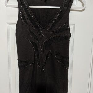 Express tank top with metal embellishment and lace